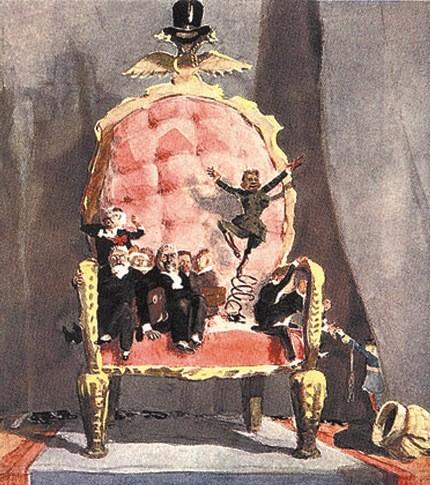 Карикатура Кукрыниксов. Очень скоро безвольного Керенского будут изображать так