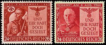 Почтовая марка Германии к годовщине «пивногопутча» с лозунгом «И всё же вы победили», 1943г. и английская пропагандистскаямарка с портретом казнённого Гитлером антинациста Эрвина фон Вицлебена  итем же лозунгом, 1944 г.