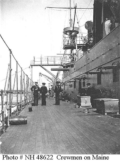 На палубе. «Мэн» был самым корявым и устаревшим кораблем США