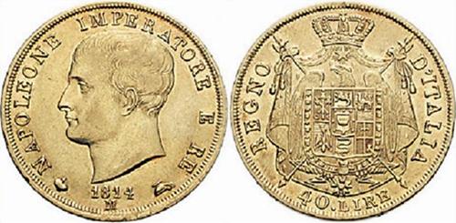 Сорок лир Наполеона. На этой монете впервые появились слова «Королевство Италия»