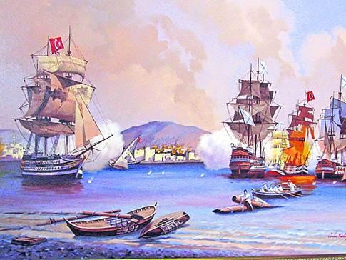Синопский бой. Картина в Стамбульском военно-морском музее