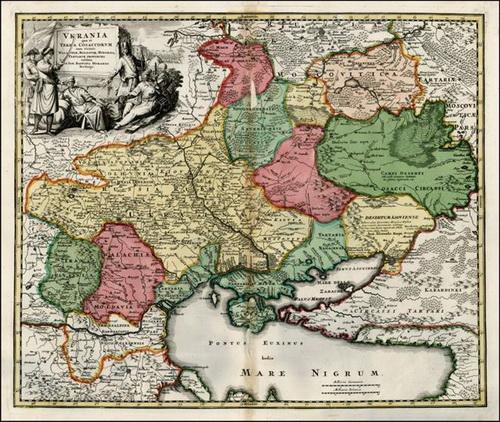Карта<br />немецкого мастера Гоманна. Отражает ситуацию начала XVIII века, сложившуюся в<br />результате Руины и казачьих междоусобиц, когда страна оказалась разделенной.