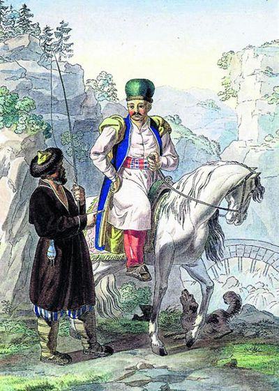Крымские татары. Русский рисунок времен покорения Крыма