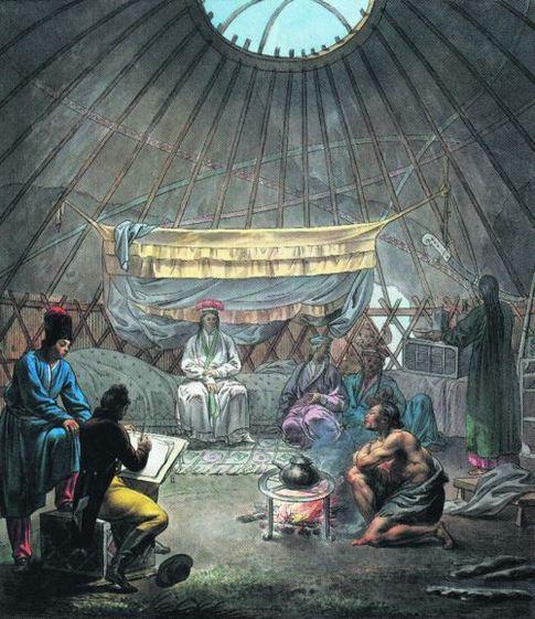 В юрте. Европейский художник и себя нарисовал среди кочевников