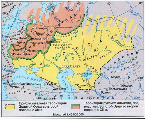 Карта Золотой Орды. Батый взял под свой контроль степи от Дуная до Иртыша и путь из Европы в Азию.