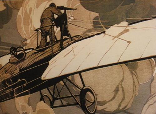 Один из первых воздушных боев. Пулемет нааэропланах появился в 1915 году уже после смерти Нестерова. Воздушным снайперампоначалу приходилось стрелять стоя