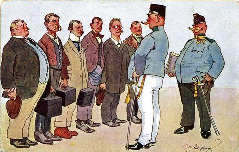 Карикатура. В Австро-Венгрии любили смеяться над своей<br /> армией