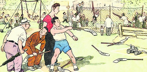 Карикатура из журнала «Крокодил». Советские граждане играют в городки клюшками. В 50-е годы XX века художники-карикатуристы высмеивали нехватку спортинвентаря