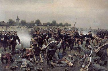 Немцы против немцев. Атака прусской<br />гвардии на австрийскую артиллерийскую позицию. Напор пехоты короля Пруссии<br />принес ей победу в 1866 г. под Кениггрецом.