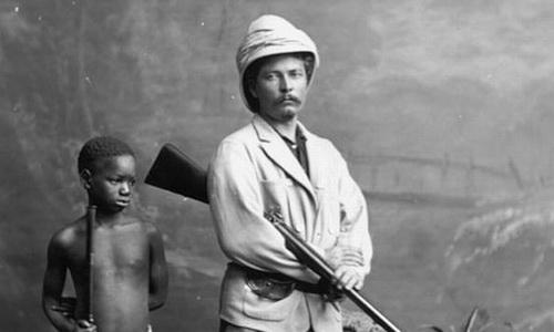 Генри Стэнли с негритенком. Открыл дорогу Леопольду II в дебри Конго