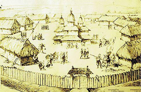 Запорожская Сечь. Называлась татарским словом «кош», т. е. «лагерь»