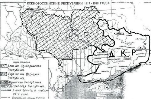 1918 год. А так все начиналось — сравните с картой современной Украины