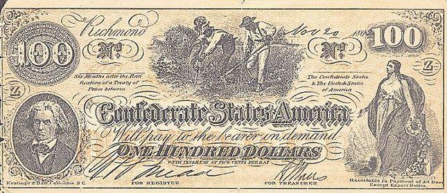 100 долларов конфедератов. Со сценами жизни на плантациях