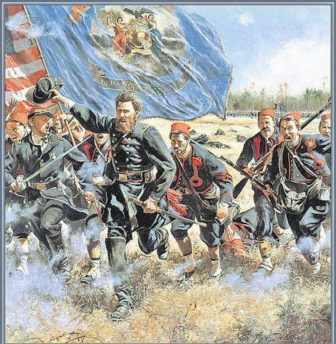 Пехота Севера в атаке. 140-й Нью-йоркский добровольческий полк