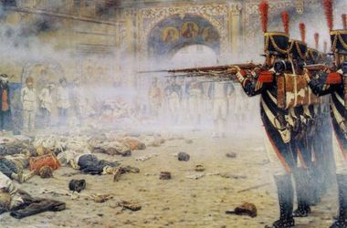 Расстрел в Кремле. На картине художника<br />Верещагина запечатлена сцена расправы французских солдат Наполеона над<br />партизанами. Экспорт еврометодов подавления масс