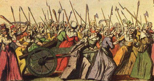 Мирная демонстрация 1789 г. В Париже народ ходил протестовать к королю с пушкойи чучелом королевы