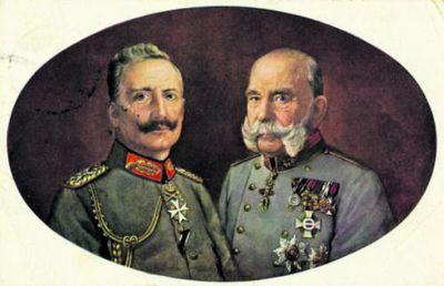 Вильгельм ІІ и Франц Иосиф. Винниченко желал победы Берлину и Вене, но высокие гонорары предпочитал получать в ненавистной Москве