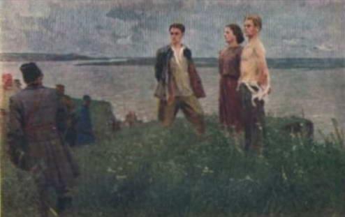 Советская открытка 1920-х. Расстрел комсомольцев в Триполье