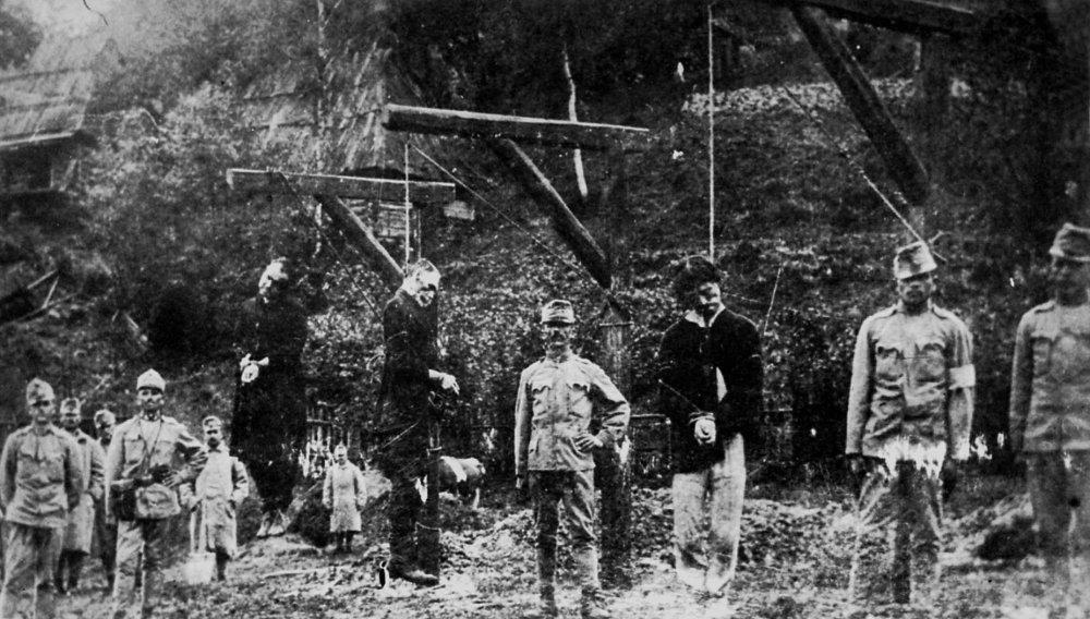 Три украинца-украинофила, повешенные австро-венгерскими солдатами осенью 1914 г.