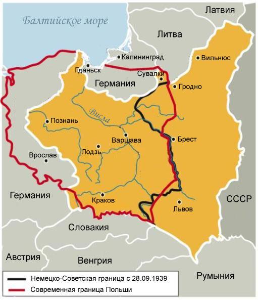 Основная территория (обозначена желтым) – Польша в границах до 1939 года. Названия городов указаны в соответствии с современной топонимикой  (фото: odkrywca.pl)